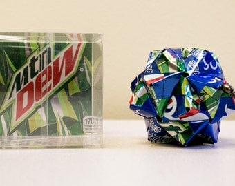 Pepsi & Mountain Dew Origami Ornaments.  Upcycled Recycled Repurposed Can Art.