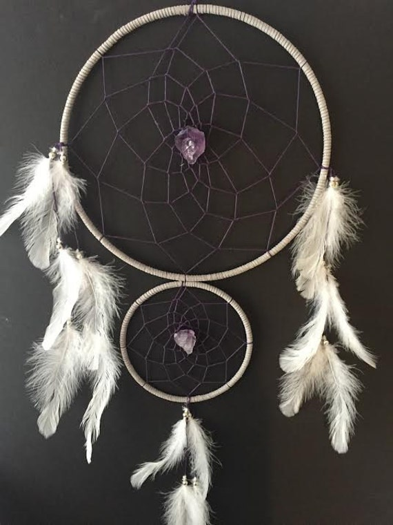 Dream catcher with double rings gray and purple with amethyst for How to make a double ring dreamcatcher