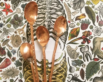Hand made single headed copper bar spoons