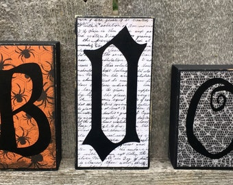 Halloween Decor Boo Chunky Wood Blocks, Halloween Woodcraft Boo Letters,  Halloween Decoration Wood Boo Letters, Halloween Wood Letters