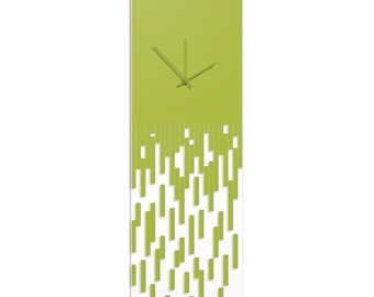 Surreal Wall Clock 'Green Pixelated Clock' by Adam Schwoeppe - Techy Style Decor Abstract Accent Piece on Acrylic