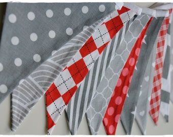 Red & Grey, Bunting Banner, Nursery Decor, Photo Prop, Fabric Flags - Boy Girl grey red strip stars dots