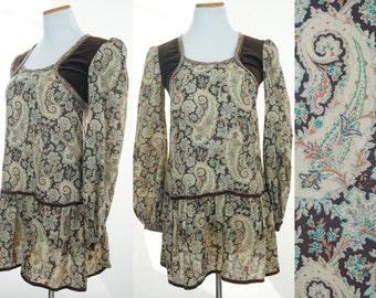 Gunne Sax by Jessica San Francisco Dress / Victorian Dress / Paisley Brown Velvet / 70s early 80s maxi dress Small
