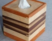 Boutique Tissue Box Cover Handmade out of Walnut, Maple, and Cherry - FREE Shipping To USA