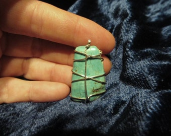 Silver-filled, Crisscross, Wire-wrapped Turquoise Pendant 1.25 inches