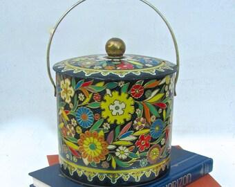 Flowered, English Tea Tin, Art Deco Design, Large Container, Antique Tin, Kitchen Storage, Canister, Antique Tin, Art Deco Era, Circa 1930s