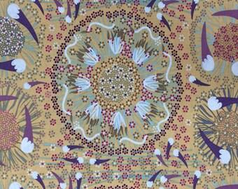 Australian Indigenous Fabric: Plum and Bush Banana in Gold