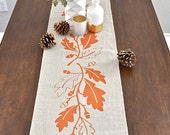 Autumn Oak Thanksgiving  Linen Table Runner -  Natural / Burnt Orange