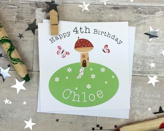 Fairy land Birthday Card for children - any age - toadstool card - kids birthday - fairyland card - woodland birthday card - wink design