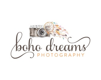 Premade Photography Logo and Watermark,  Watercolor Dreamcatcher Bohemian Feather Camera Logo 268