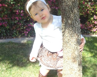 Girls Brown and Pink Gingham Bandana Skirt  - 3 to 24 months and 2-6**  Also available in other Color Combinations