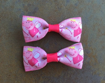 Mini Peppa Pig Hair Bows Clips