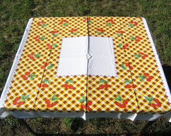 Exceptional Vintage Tablecloth Cherries, Retro Square Floral Cotton Tablecloth, Vintage  Cherry Checked Tablecloth, Mid