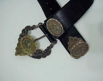 Ornate Belt  Leather Belt Rare Intricate Metalwork    Adoppia Vita Italy  Gothic Renaissance