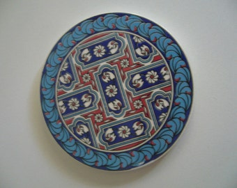 Ceramic turkish mat/Turkish pottery blue/ceramic hot pad/Turkish tile art
