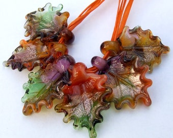 Lampwork Glass Autumn Leaves for Jewelry Making, Set of 6 Fall leaf beads in warm shades,  Earthly colors leaves, Made to Order