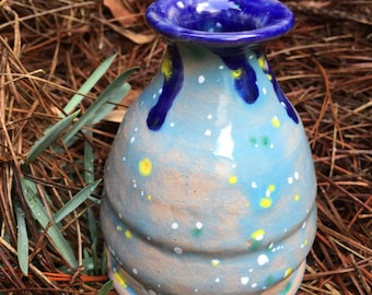 Blue Speckled Mini Vase, small vase, bud vase, blue vase, tiny vase, ceramic pottery, vase centerpiece