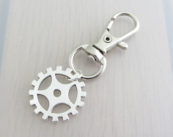 Silver Steampunk Gear Charm Purse Clip, Gear Zipper Pull, Steam Punk Cog Handbag Charm, Gear Bag Charm, Steampunk Bag Charm