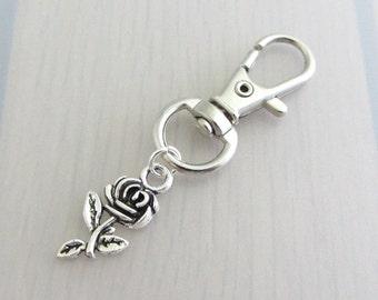 Silver Rose Flower Charm Purse Clip, Rose Flower Zipper Pull, Rose Handbag Charm, Rose Bag Charm, Flower Bag Charm