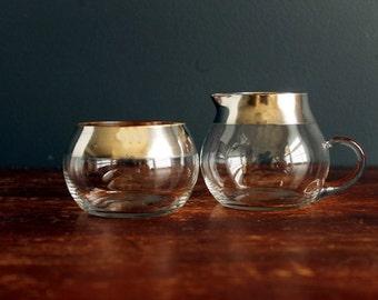 Authentic Vintage Dorothy Thorpe Allegro Glassware Cream And Sugar Set