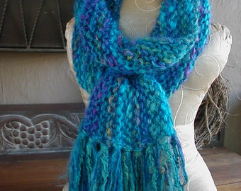 Hand Knit Scarf, Knit Scarf, Turquoise Scarf, Scarves
