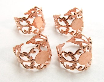 4 pcs Rose Gold Tone/Light Copper Tone Filigree Ring Setting - Vintage Style Ring Blanks - 17mm diameter