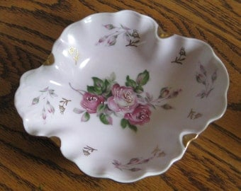 Vintage Hand Painted Flower Shaped Porcelain Dish, Candy Dish, Pink Floral Serving Dish, Trinket Dish