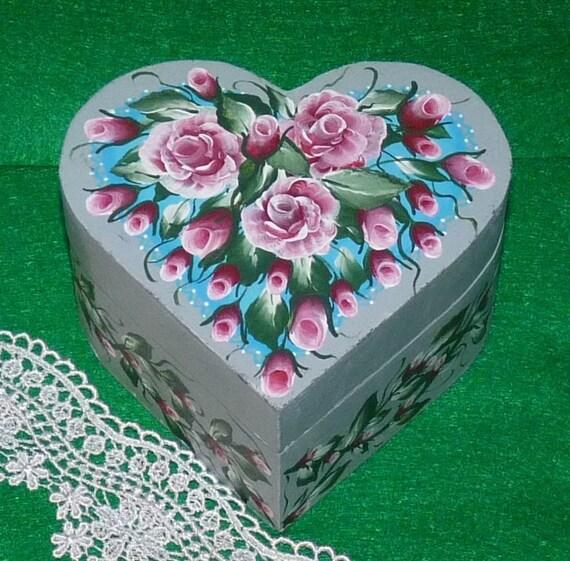 Hand Painted Wooden Jewelry Box Decorative Wood Heart Box Jewelry Organizer Red Roses Heart Gift Box Shabby Chic Box