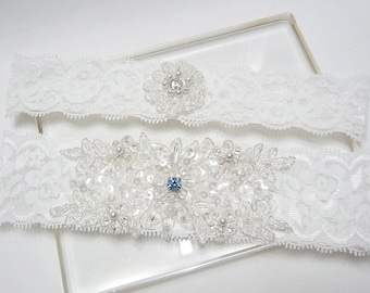 Lace garter set, wedding bridal lace garter set, white garter set, lace wedding garter set, something blue wedding garter set