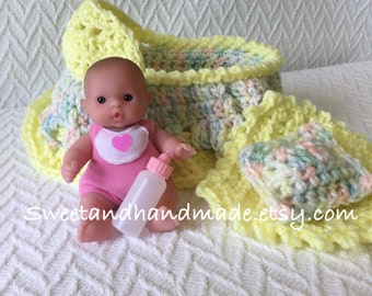 crochet cradle purse with doll blanket pillow and baby bottle also called church purse girls purse with doll  bassinet purse READY TO SHIP