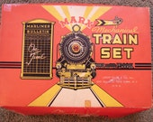 1950s Marx Train Set Key Wind Up Tin Train, with Tracks, Cars, Box