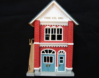 1991 Hallmark Christmas Ornament with box Hallmark Ornament Nostalgic Houses FIRE STATION Miniature House #8 in Series