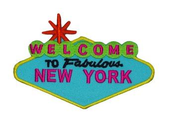 "Landmark Sign ""Welcome to Fabulous New York"" Patch USA Souvenir Iron-On Applique"