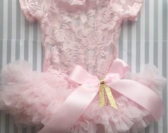 Girls tutu-baby tutu dress-1st birthday tutu dress-pink tutu bodysuit dress-pink tutu dress-1st birthday pink gold-newborn tutu-cake smash