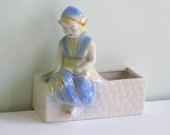 Vintage Dutch Girl Porcelain Planter