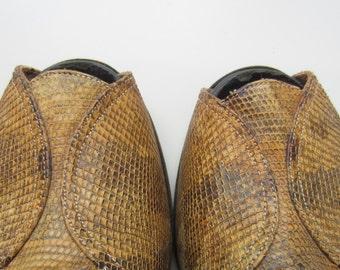 1940s custom made snake skin peep toe heels by Palizzio New York
