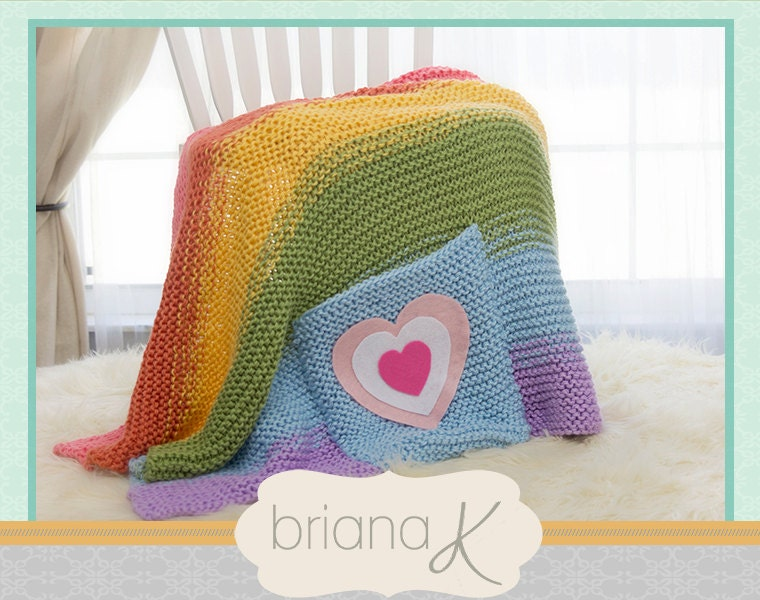 Knitting Pattern Rainbow Blanket : Rainbow Knit Blanket Throw PATTERN Instant Download