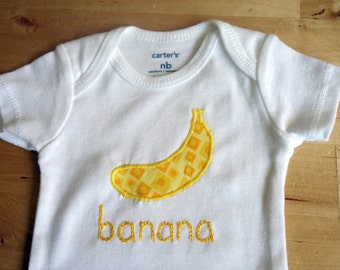 BANANA Onesie / Bodysuit - Baby Girl or Boy, Long Sleeve - Available in NB, 3, 6, 9, 12, 18 and 24 months