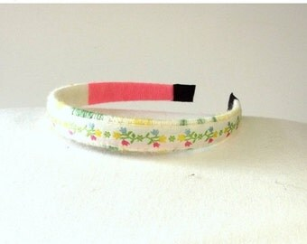 FALL SALE, Spring Flower Headband - Fabric Hair Band - Vintage Hair Accessory - Gift For Her