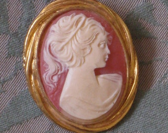 Large Vintage Cameo Pin Brooch - Grecian Style Profile - Gold Tone Metal Setting - Jewelry, Accessories, Supplies