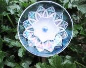 Iridescent Glass plate flower garden art, Handcrafted Garden Art and garden suncatcher, Glass Suncatchers - Outdoor Decor