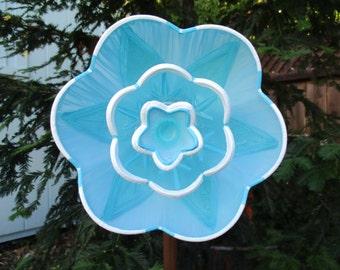 Vintage Garden Decor - Glass Flower Garden Art, hand painted in Blue, recycled garden art, garden stakes, glass garden totem, garden gift