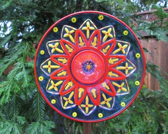 Outdoor Garden Decorations - glass plate flower - hand painted  Red, Yellow & Cobalt garden art - repurposed glass garden art, fence decor