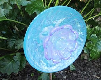 Yard Art - Glass Garden Art - Handpainted - Glass Sun Catcher, Repurposed Glass, Garden Art, Glass Plate Flower - Garden Gift