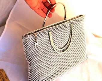 Vintage Silver Ball Chain Mesh Purse by Marlo Gold Solid half round handles Handbag dressy classy