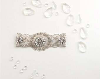 No.3, Silver Lace, Rhinestone Garter, Lace, Beaded, Heirloom Garter, Silk, Wedding Garter Set, Bridal Garter