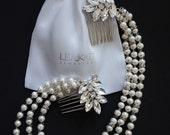 Drape grecian hair comb.  Double boho pearl & crystal draped comb.  ****Bridal Budget Range****