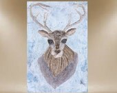 original deer painting textured antler art 24X36 FREE SHIP