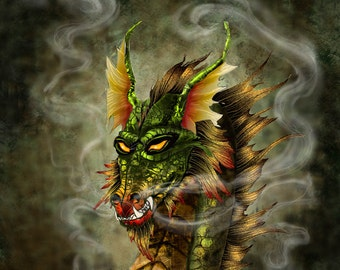 Fantasy mouse pad. dragon mouse pad. Smoke the dragon mousepad