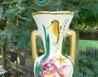 Lamarche Decore marked french vase, seahorses and whimsical fish